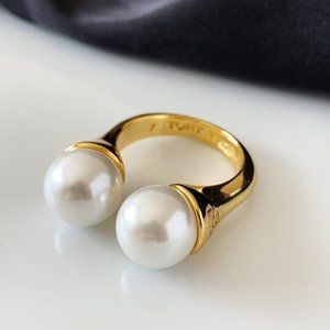 Tory Burch Logo Pearl Gold Adjustable Ring